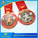 専門家はめっきされた骨董品が付いている金属のスポーツメダルをカスタマイズした(MD07-C)