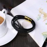 Einfacher Entwurfs-Mann-ledernes Armband mit magnetischer Faltenbildung