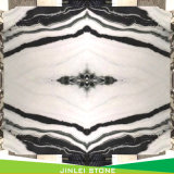 Il nero venato il marmo di bianco del panda della lastra delle mattonelle di pavimentazione della parete della parte superiore contro