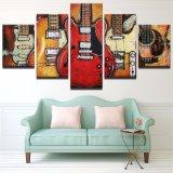 Illustrations modulaires modernes de bâti d'art de mur estampées par HD de peinture de toile 5 parties de guitare de musique d'affiche de décor abstrait de salle de séjour