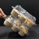 Unidade 6 Caixa Cupcake articulada de Plástico Transparente Recipiente Cupcake clamshell