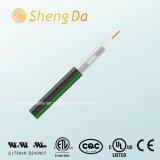 Чернота с зеленой линией коаксиальным кабелем Tri-Экрана от Shengda Компании