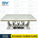 最も新しい大理石の上の交差の鋼鉄足のダイニングテーブル