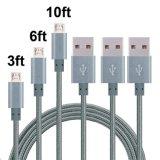 금속 상자 2A 나일론 땋는 마이크로 인조 인간 USB 비용을 부과 건전지 케이블