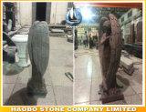 Cinza Non-Religious da escultura do anjo do granito colorido