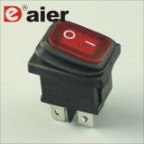 2 Position one-off Black Housing Red LED Electrical Rocker Switch