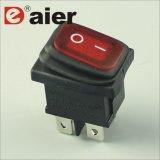 2개의 위치 온-오프 까만 주거 빨간 LED 전기 로커 스위치