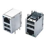 Unterseite-t Doppel-weiblicher Verbinder 10/100/1000 USB-RJ45