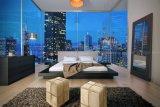 Neues modernes Schlafzimmer-Möbel-Leder u. hölzernes Iga Bett