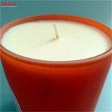 Candela di vetro del vaso personalizzata cera arancione della soia con fragranza