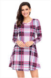 Стиле низкая цена Клетчатую длинной втулки девочек платье из Китая