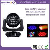 Mini lumières principales mobiles compactes superbes de zoom de lavage de 19*15W RGBW
