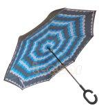 Guarda-chuva Windproof do gancho de cabeça para baixo novo do punho do reverso C da camada dobro do guarda-chuva do projeto do interruptor