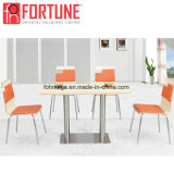 Volver especiales de madera Cojín de tela Restaurante mesas sillas con patas de acero inoxidable (FOH-BC39)