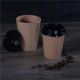 Mur d'ondulation du papier jetable personnalisé des tasses à café avec couvercle