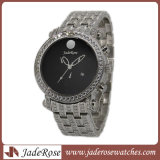 Montre imperméable à l'eau de quartz d'acier inoxydable de montre de montre de pierre de dames