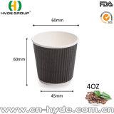 4oz에 의하여 상표가 붙는 잔물결 벽 커피 종이컵 (4개 oz)