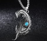 人のためのヒップホップの羽の吊り下げ式のネックレスは青いアクセサリのステンレス鋼の男性のパーソナリティー宝石類のギフトにはめ込んだ