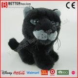 Juguete suave realista del leopardo de la pantera negra del animal relleno de la felpa de ASTM