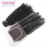 cabelo Curly brasileiro do Virgin do cabelo humano do Virgin 7A com fechamento