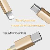 3 dans 1 caractéristique d'USB et câble de remplissage pour toutes sortes d'appareil mobile