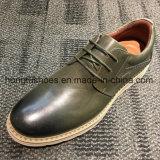Parte superior negra de cuero auténtico Plain hombres zapatos de trabajo