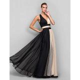 Color posterior hermoso con la vendimia A - línea vestido de noche del bloque formal del V-Cuello