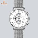 Reloj de encargo de lujo 72375 de la insignia de la venda de acero de los hombres del nuevo reloj