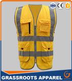 100 Vest van Workwear van de Zak van het Vest van de Veiligheid van het Zicht van de polyester het Hoge Weerspiegelende Multi