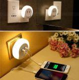 USB 충전기 이중 LED 벽 플러그 USB 밤 빛 침대 램프