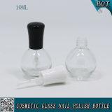 Botella de barniz de uñas de vidrio transparente de 10 ml con tapón de cepillo blanco y negro