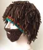Handmade шлем Rasta шлема шерстей парика бородатой связанный рукой Crocheted