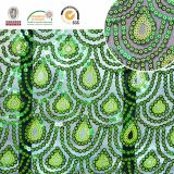 Tessuto fragile del merletto del reticolo della piuma del pavone, ricamo Polyster per l'indumento C10045