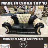Sofa en cuir tufté de salle de séjour de bouton européen de meubles