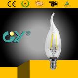 後につかれるフィラメント軽いC37 7W E14 4000k LEDの蝋燭