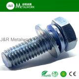 Boulon Hex du carbone de vis inoxidable de l'acier les PSEM avec la rondelle de noix