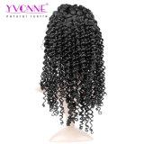 Perruque brésilienne de cheveu de Remy, perruques profondes d'avant de lacet de cheveux humains d'onde, couleur #1b, 12-26inches