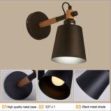 Lámpara de pared moderna de la lámpara de la pared de la lectura de madera y del metal de la manera en negro para el hogar