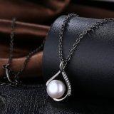 Collar plateado arma negro pendiente de la manera del collar de la perla natural 2017 para las mujeres