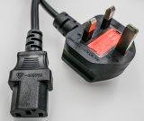 IEC C5 al enchufe masculino del ángulo del cable de transmisión del enchufe BRITÁNICO C5 al alambre BRITÁNICO de la potencia del enchufe
