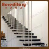 屋内現代木製の踏面のステンレス鋼ケーブルの柵の螺線形階段(SJ-H889)