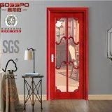 Porte intérieure en bois solide de porte en verre en bois blanche (GSP3-018)