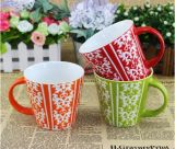Taza roja esmaltada cubierta obra clásica de cerámica al por mayor