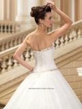 Einfaches Falte-Raupen Tull Ballkleid-Brauthochzeits-Kleid Wd002