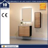 Governo di stanza da bagno fissato al muro di legno degli articoli sanitari con il lavabo