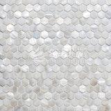 Mosaico blanco puro de Hexagan del shell de agua dulce