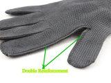 Черный полиэстер металлической сетки Anti-Cut защитные рукавицы-2354