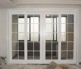Новая раздвижная дверь алюминия Tempered стекла двойника конструкции