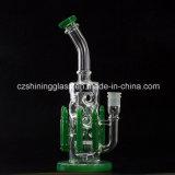 """10 polegadas de tubulação de água de fumo de vidro do projeto """"sexy"""" com as plataformas petrolíferas verdes da bala"""