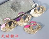 Sostenedor material de la manera del metal del soporte del teléfono móvil del anillo de Bling Bling para el diseño del pavo real del teléfono celular/de la tablilla